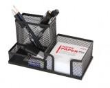 得力9175多功能网纹组合笔筒 创意时尚高档办公笔座金属 得力文具
