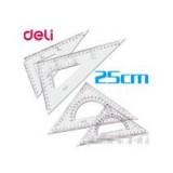 测量仪尺文具批发 得力三角尺 6425 塑料三角板套尺 25厘米套装