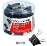 Comix/齐心B3629 黑色长尾票夹5# 19mm筒装 40只/桶