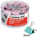 齐心(COMIX)B3634彩色长尾夹 彩色票夹4# 25mm筒装 48只/桶